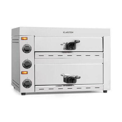 Klarstein Vesuvio II Horno para pizza de 2 cámaras 2260W 300°C Acero inoxidable Plateado