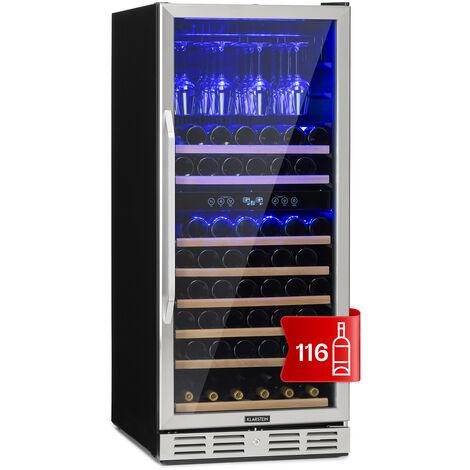 Klarstein Vinovilla 116D Nevera para vinos de gran interior 313 litros 116 botellas Acero inoxidable