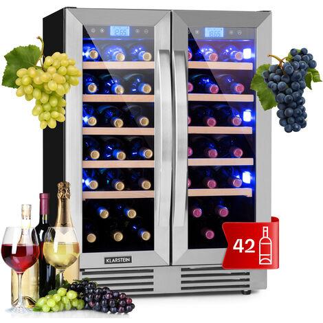 Klarstein Vinovilla Duo 42 Two-Zone Wine Refrigerator 126l 42 Bottles 3-Colour Glass