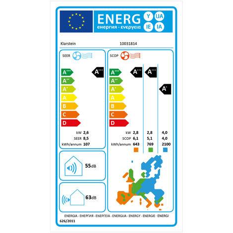 Klarstein Windwaker Supreme 9000 Inverter Climatiseur split 9000 BTU 2,6/2,8 kW