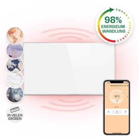 Klarstein Wonderwall Smart Infrared Heater 50x90cm 450W Weekly Timer IP24 White