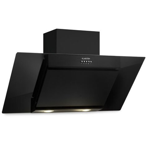 Klarstein Zola 90 campana extractora sin cabeza 90 cm 640 m³/h LED cristal acero inoxidable negra