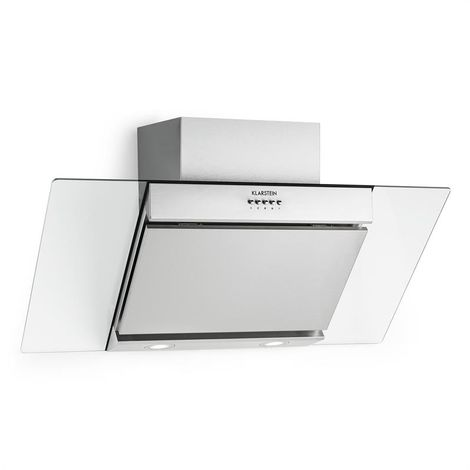 Klarstein Zola Extractor Hood Air Purifier Stainless Steel 90cm Wall Mounting 635 m³/h Glass