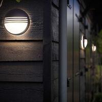 Klassiche LED Außenwandleuchte aus Kunststoff in anthrazit, rund EEK A+ [Spektrum A++ bis E]