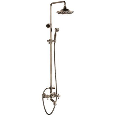 Klassische Duschsäule aus antikem Messing mit Wannenauslauf