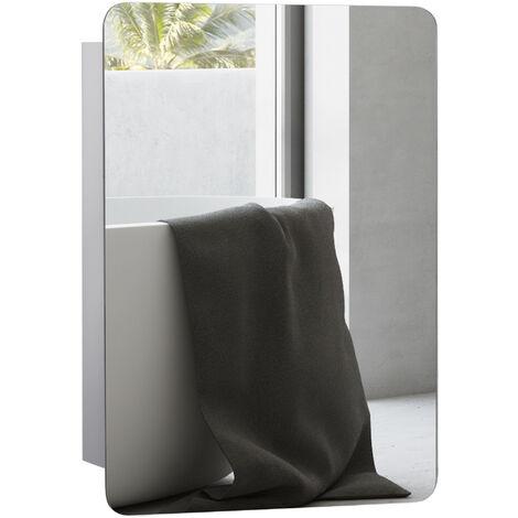 kleankin 66x46cm Modern Curved Wall Mirror w/ Storage Sliding Door 3 Shelves