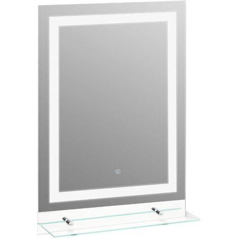 "main image of ""kleankin 70x50cm LED Light-Up Bathroom Mirror w/ Glass Shelf Touch Switch Home"""