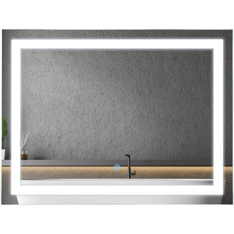 kleankin 80x60cm LED Bathroom Mirror Wall Mounted Vanity Light w/ Touch Switch