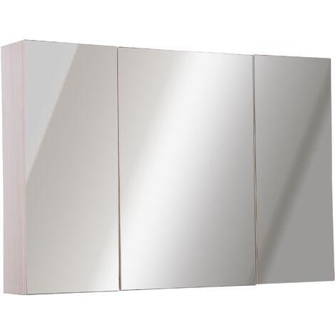 Kleankin Armadietto Pensile da Bagno 3 Ante con Specchio in Legno Bianco Rovere 90x60x13,5 cm