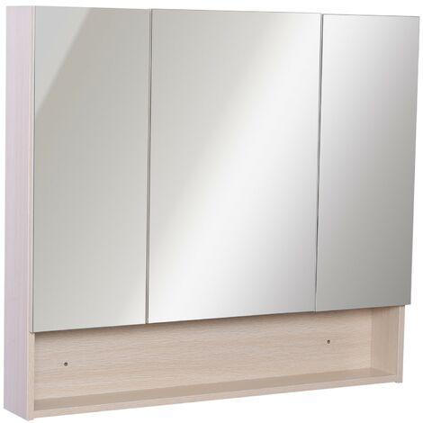 Specchio Bagno Con Ante.Kleankin Armadietto Pensile Da Bagno Con 3 Ante Specchio In Legno