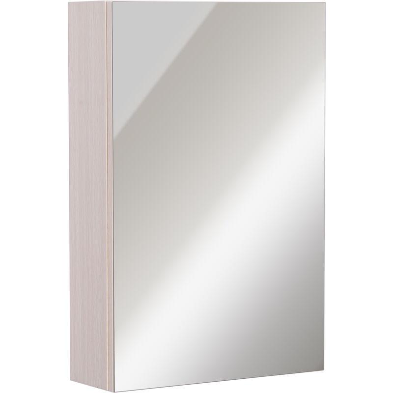 Kleankin armadietto pensile da bagno con specchio e 3 ripiani interni in legno bianco rovere - Pensile bagno specchio ...
