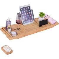 kleankin Bamboo Extendable Bath Rack Tray Storage Tablet Phone Wine Book
