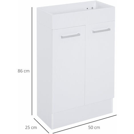 kleankin Bathroom Cabinet Furniture Washstand Toilet Cloakroom Tap Hole White