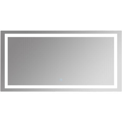 kleankin Espejo de Baño con Luz LED 120x60cm Interruptor Táctil y Antivaho Aluminio Plata - Plata