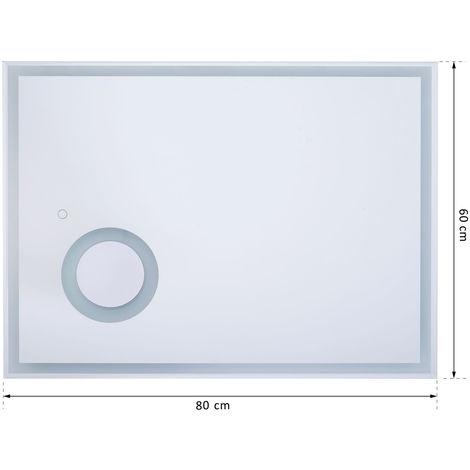 KleankinR LED Badspiegel Badezimmerspiegel Wandspiegel Touchschalter Vergrossung Alurahmen Silber 80 X 3 60 Cm