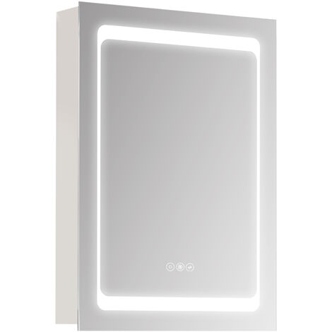 kleankin LED Light Illuminated Bathroom Mirror Cabinet Wall-Mounted Storage Unit