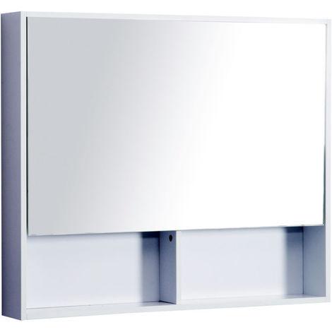 Kleankin Mdf Mirror Cabinet Storage Unit Bathroom Single Door Modern Open Shelf White P 385786 8000791 1 Jpg