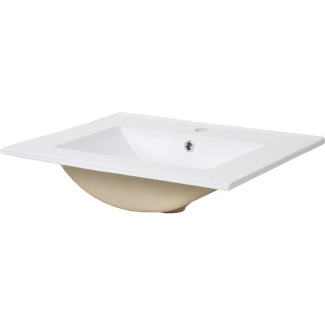 kleankin Modern Ceramic Sink Bathroom Wash Basin Rectangular Countertop White