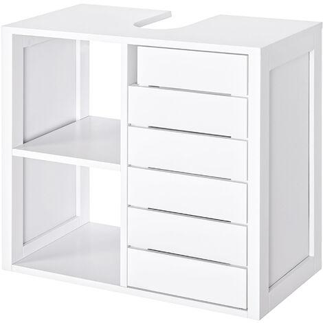 kleankin Mueble Bajo para Baño con Estantes y Armario 60x30x54 cm Blanco