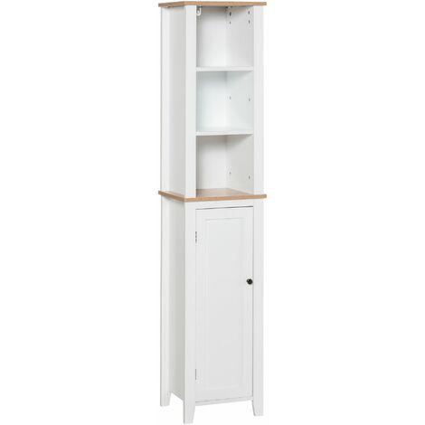 """main image of """"kleankin Mueble Columna de Baño 3 Estantes Armario de Puerta Carga Máx. 40kg 35x30x170cm - Blanco"""""""
