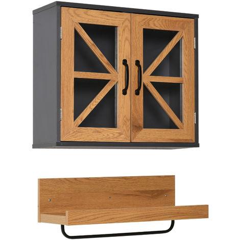 kleankin On-Wall Bathroom Cabinet & Towel Holder w/ Shelf Metal Rail Home Storage