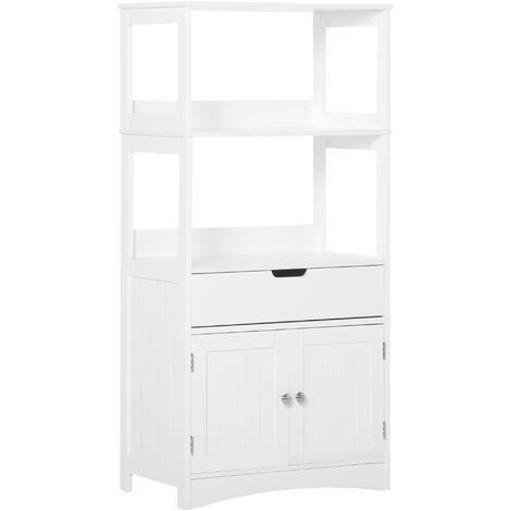 "main image of ""kleankin Open Bathroom freestanding Storage Unit w/ Shelves Cabinet White"""