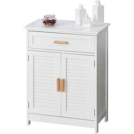 kleankin Retro Bathroom Cabinet Storage w/ Shutter Doors Wood Handles White