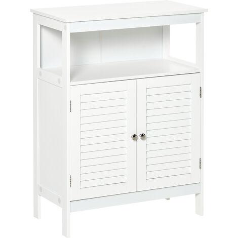 kleankin Retro Shutter Door Bathroom Floor Cabinet w/ Open Top Cupboard White