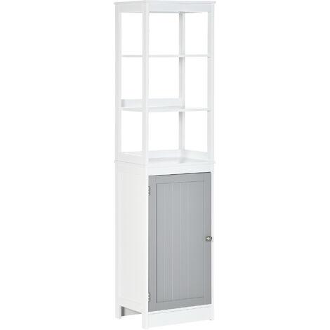 "main image of ""kleankin Tall Bathroom Cabinet Freestanding Slimline Cupboard Organiser Furniture"""