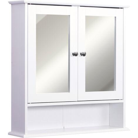kleankin Wall Bathroom Cabinet Mirror Door Organiser Storage Unit Shelves White