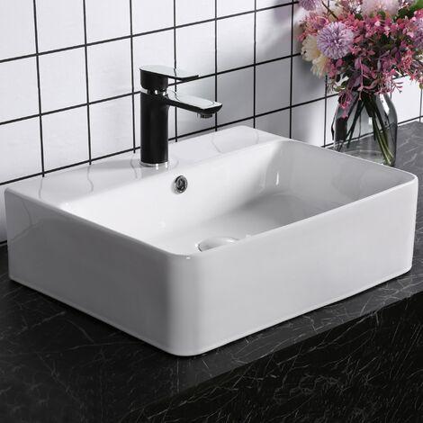 kleankin® Waschbecken Waschschale Waschtisch Aufsatzwaschbecken Keramik 52 x 42 x 15,5 cm