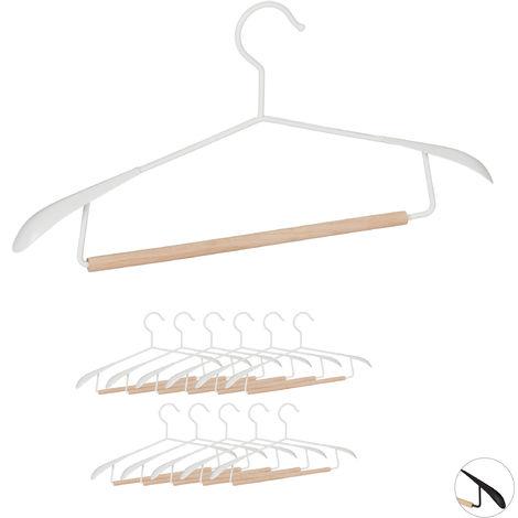 Kleiderbügel, 12er Set, breite Schultern, für Sakkos & Anzüge, Hosenstange, Jackenbügel, Metall & Holz, weiß