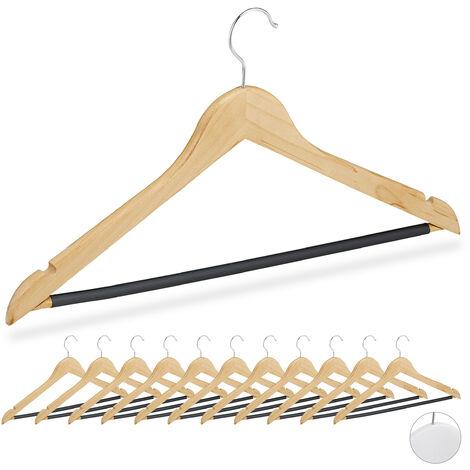 Kleiderbügel, 12er Set, für Oberteile, Hosen & Röcke, Kerben, gummierter Hosensteg, stabil, Holz Bügel, natur
