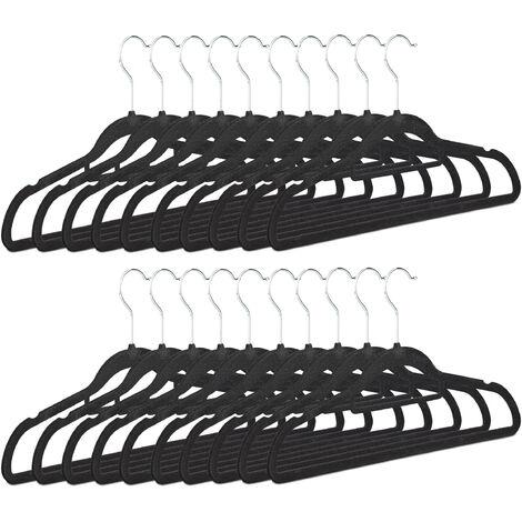 Kleiderbügel 20er Set, rutschfest, platzsparend, Samtbezug, 360° drehbarer Haken, HxB 22,5 x 41 cm, schwarz