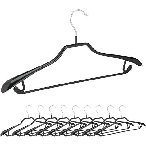 Kleiderbügel für Anzüge, 10er Set, Anzugbügel, gummiert, aus Metall, rutschfest, platzsparend, 44 cm, schwarz