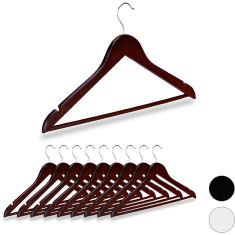 Kleiderbügel Holz, 10er Set, Kerben, Hosensteg, Garderobenbügel, 360° drehbarer Haken, 44,5 cm breit, braun