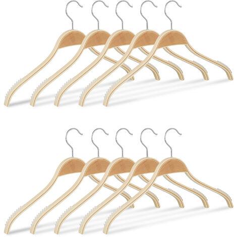 Kleiderbügel Holz 10er Set, rutschfeste Lamellen, natürliche Optik, 360° drehbarer Haken, stabil, 40 cm, natur