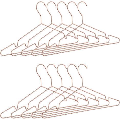 Kleiderbügel roségold im 10er Set, dünn, elegante Drahtbügel für Tops, glänzende Bügel, platzsparend, kupfer