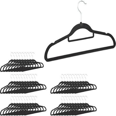 Kleiderbügel Set, Samtbügel mit Hosenstange, Krawattenhalter, rutschfest, drehbar, großes 50er Pack, schwarz