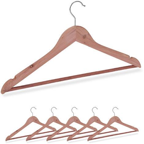 Kleiderbügel Zedernholz, 6 Stück, Mottenschutz im Kleiderschrank, edles Design, eingekerbt, B: 44 cm, natur