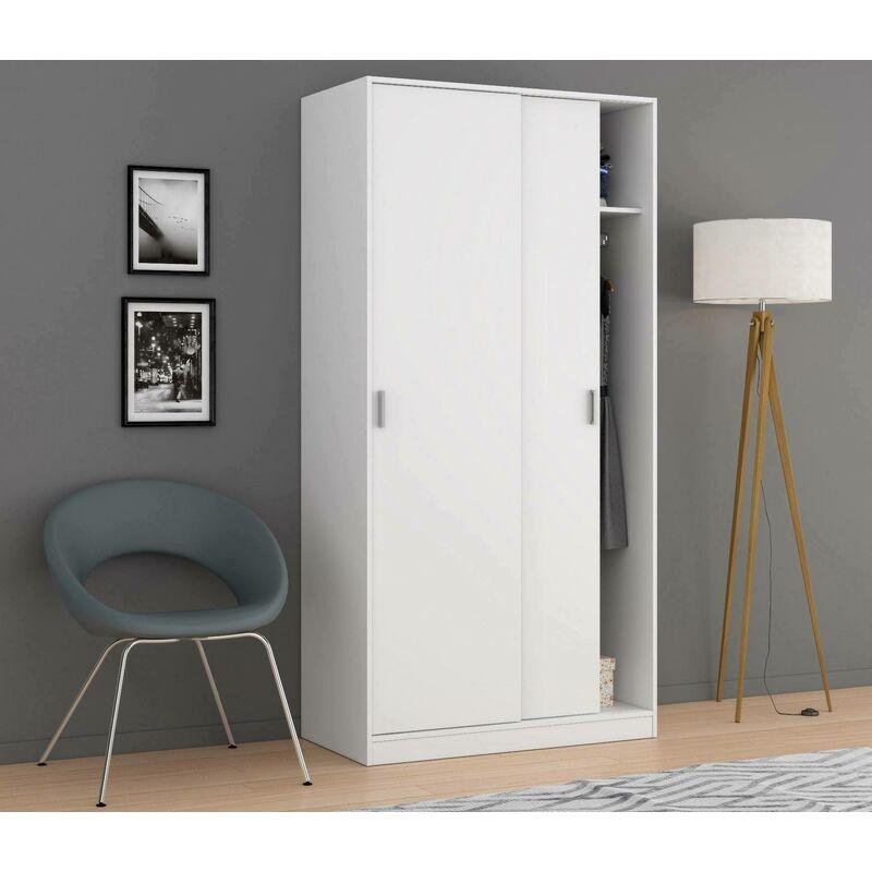 Kleiderschrank mit zwei Schiebetüren, Farbe Weiß, 200 x 100 x 50 cm - DMORA