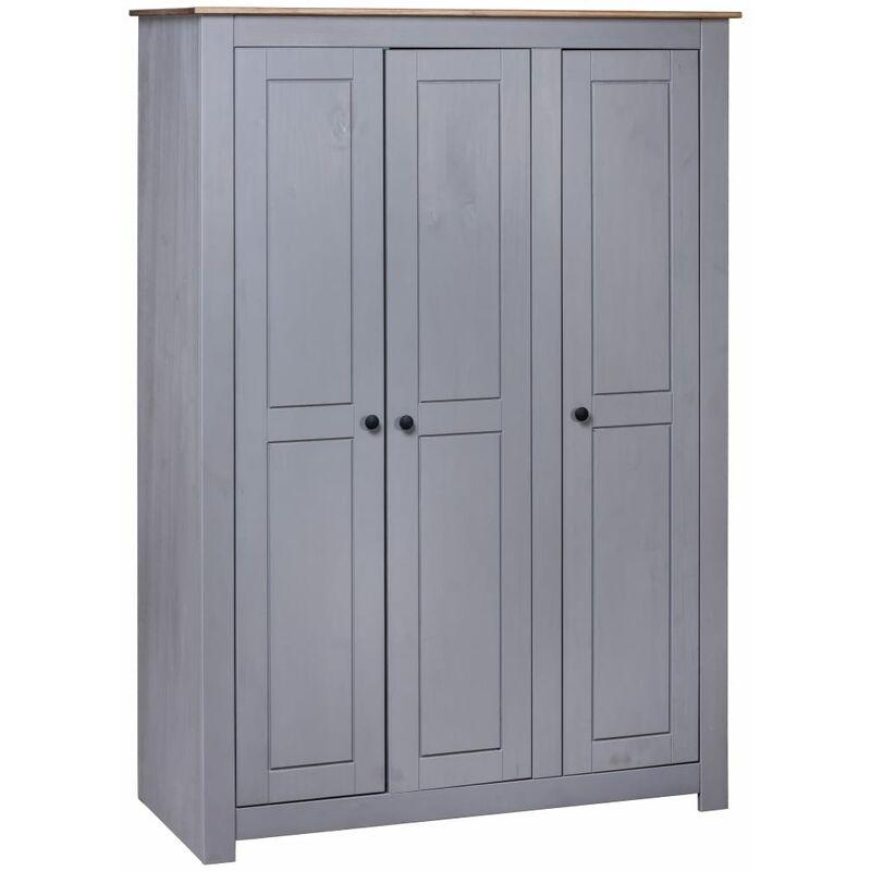 Kleiderschrank 3-Türig Grau 118×50×171,5 cm Kiefer Panama Serie - ZQYRLAR