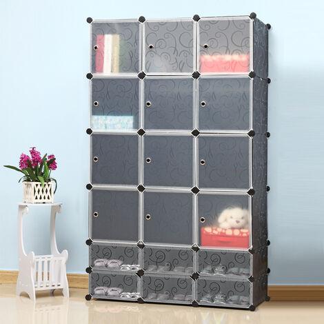 Kleiderschrank aus Kunststoff DIY Modular Schrank Regalsystem Steckregal Garderobenschrank Schuhregal 183x110x37cm