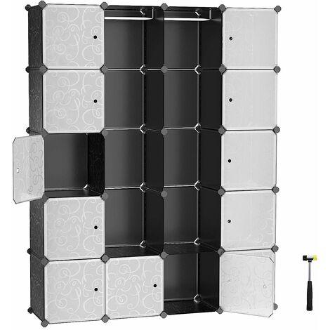 Kleiderschrank aus Kunststoff, Mehrzweck Organizer, Garderobe, mit 2 Kleiderstangen, Steckregal, Regalsystem für Kinderzimmer, Raumteiler, 178 x 143 x 36 cm, weiß/Schwarz