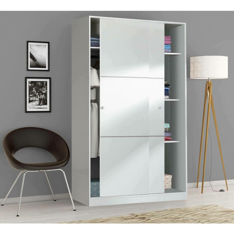 Kleiderschrank Bormio mit zwei Schiebetüren und drei Regalen, Farbe glänzend Weiß, 200 x 120 x 50 cm - DMORA