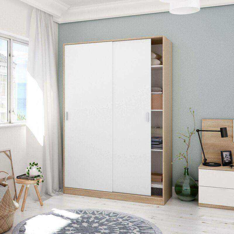 Kleiderschrank Bormio mit zwei Schiebetüren, Struktur in Eiche und Türen in glänzend Weiß, cm 200 x 120 x 50 - DMORA