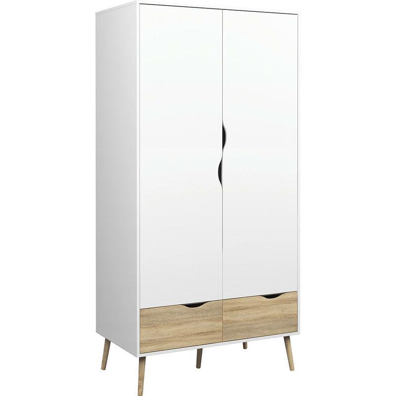 Kleiderschrank Carter 2 Türen 2 Schubladen 98.7x200.1x58.1, Platten und Melamin, Beige - DMORA