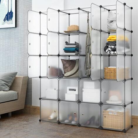 Kleiderschrank DIY Schrank Regalsystem Steckregal Badregal Schuhregal 147x37x183cm Transparent