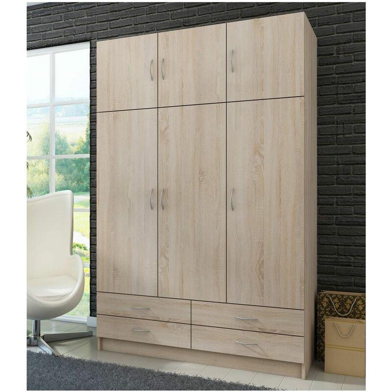 Küchen Preisbombe - Kleiderschrank Drehtürenschrank Wäscheschrank Schrank Schlafzimmer Sonoma Eiche