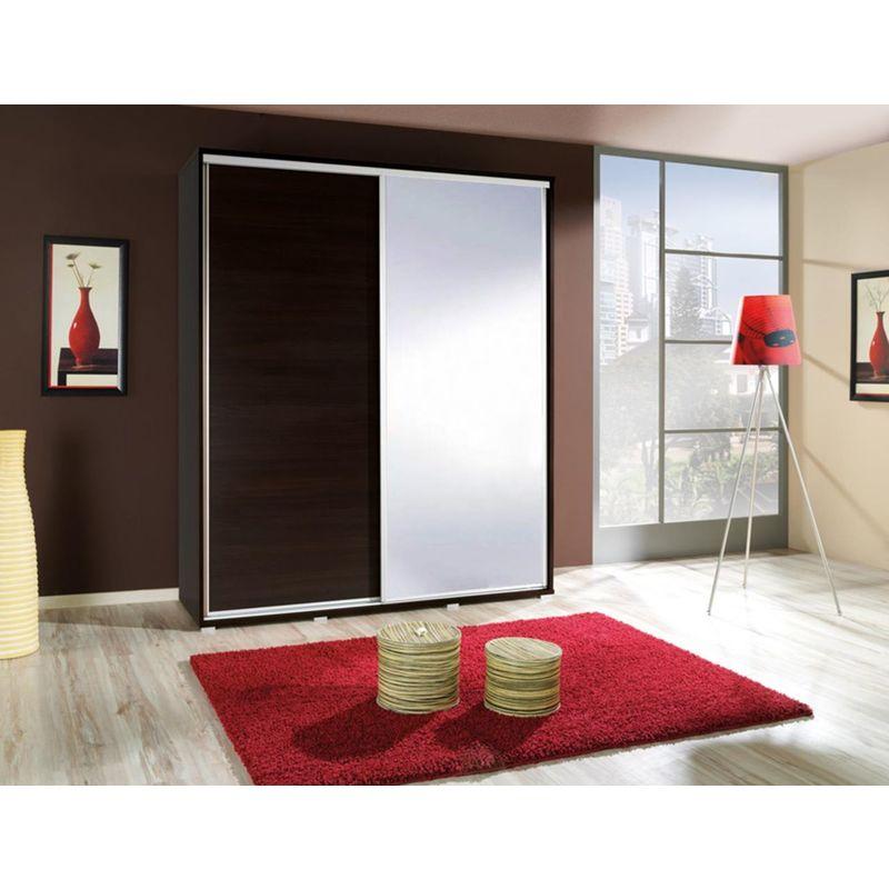Kleiderschrank GILES Schwebetürenschrank mit Spiegel 155x215 cm - FUN MOEBEL